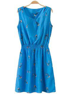 Swallow Print Sleeveless Dress - Royal Blue M