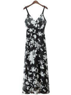 Spaghetti Strap Floral Print Maxi Dress - White And Black M