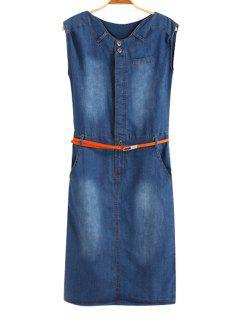 Jewel Neck Bleach Wash Belt Denim Dress - Blue S