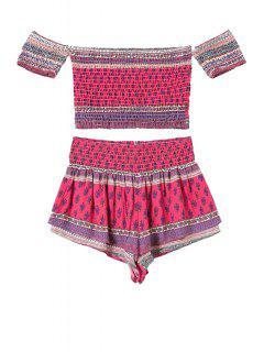 Slash Neck Ethnic Print T-Shirt And Shorts Suit - Rose Xl