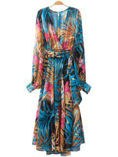 Color Block Leaves Print Tie-Up Dress - Blue S
