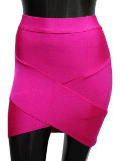 Bandage Solid Color Bodycon Skirt - Rose M