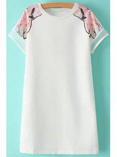 Print Voile Splicing Short Sleeve Dress - White L