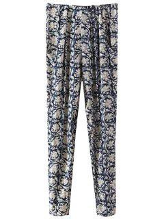 Retro Floral Elastic Waisted Pants - Purplish Blue L