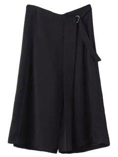 Solid Color Wide Leg Capri Pants - Black M