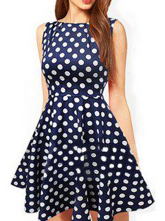 Jewel Neck Polka Dot Dress - Deep Blue S