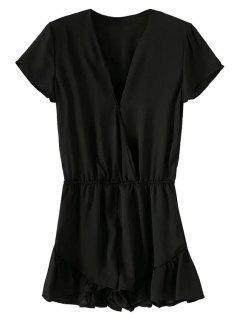 Short Sleeve Solid Color Ruffles Romper - Black M