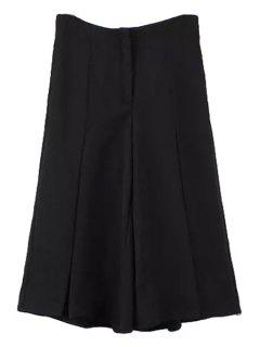 Wide Leg Black Capri Pants - Black L