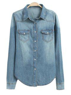 Pocket Denim Long Sleeve Shirt - Blue L
