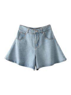Solid Color Wide Leg Denim Shorts - Light Blue S