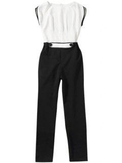 Color Block Short Sleeve Jumpsuit - White And Black M
