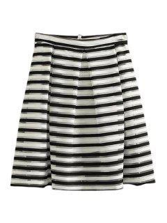 Stripe Ruffle Voile Zipper Fly Skirt - White And Black S