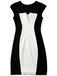 Color Block V Neck Bodycon Dress - White And Black Xl