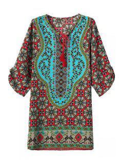 Tie-Up Color Block Print Half Sleeve Dress - Flax Green S