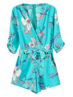 Tie-Up Floral Print 3/4 Sleeve Romper - Blue S