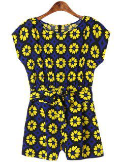 Short Sleeve Print Self-Tie Romper - Blue And Yellow S