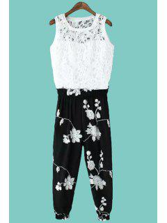 Crochet Tank Top And Floral Embroidery Pants Suit - White And Black