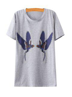 Swallow Print Rhinestone Embellished T-Shirt - Gray