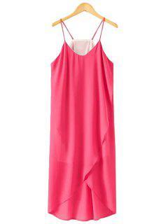Spaghetti Strap Solid Color Asymmetrical Dress - Rose M