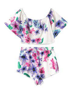 Floral Print Short Sleeve Crop Top + Shorts - L