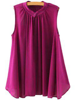 Ruffle Solid Color Asymmetrical Sleeveless Shirt - Purple M
