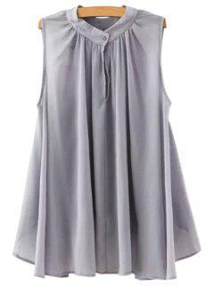 Ruffle Solid Color Asymmetrical Sleeveless Shirt - Gray M