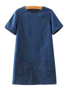 Short Sleeve Solid Color Denim Dress - Purplish Blue L