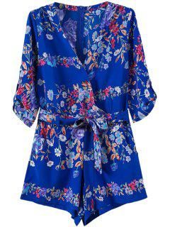V Neck Floral Print Tie-Up Romper - Blue S