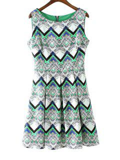 Wavy Striped Print Sundress - Green S