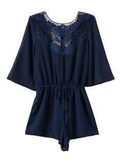 Lace Splicing Backless Tie-Up 3/4 Sleeve Romper - Blue S
