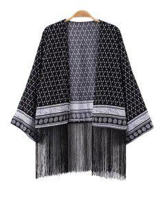 Argyle Print Fringe Splicing Long Sleeve Coat - Black M