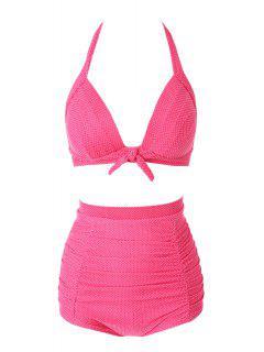 Halter Red Polka Dots Bikini Set - Red S