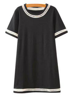 Lace Splicing Openwork Short Sleeve Dress - Black S