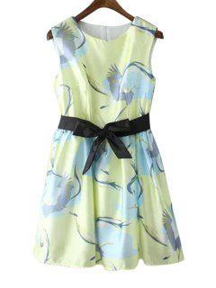 Print Black Belt Sleeveless Dress - Yellow S