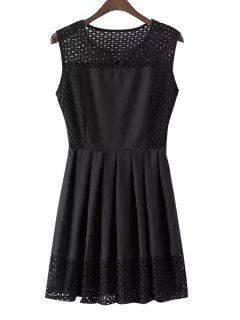 Openwork Solid Color Sleeveless Pleated Dress - Black M