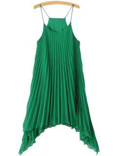 Solid Color Pleated Spaghetti Straps Dress - Green L