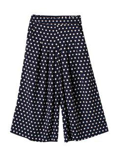 Polka Dot Loose Elastic Waist Pants - Purplish Blue