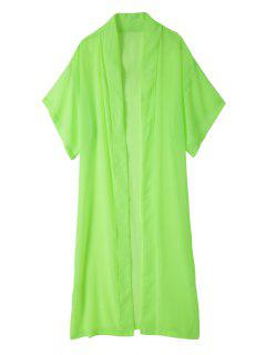 Solid Color Duster Coat - Green M