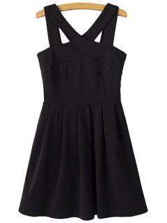 Solid Color V-Neck Sleeveless Dress - Black M