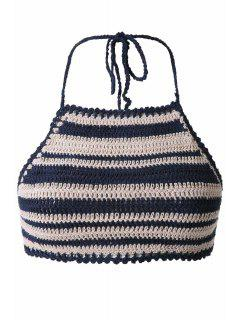 Striped Halter Crochet Crop Top - Stripe