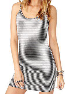 Stripe Backless Sleeveless Dress - Stripe 2xl