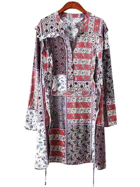 hot Print Flounce Splicing Long Sleeve Dress - COLORMIX S Mobile