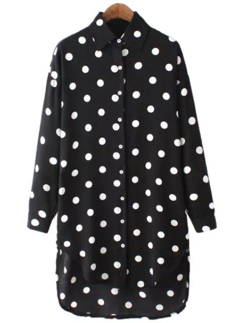 sale Polka Dot Chiffon Long Sleeve Shirt - BLACK ONE SIZE(FIT SIZE XS TO M) Mobile