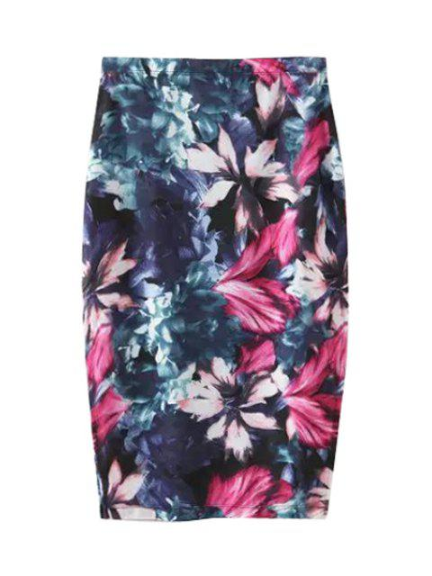 outfits Floral Print Side Slit Skirt - PURPLISH BLUE L Mobile