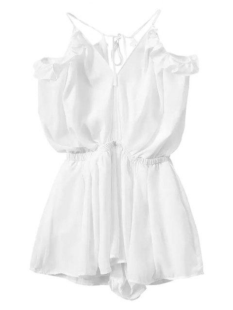 hot Solid Color Backless Flounce Splicing Romper - WHITE L Mobile