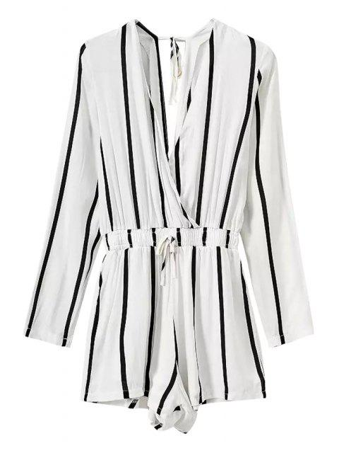 trendy Stripe Elastic Waist Long Sleeve Romper - WHITE XL Mobile