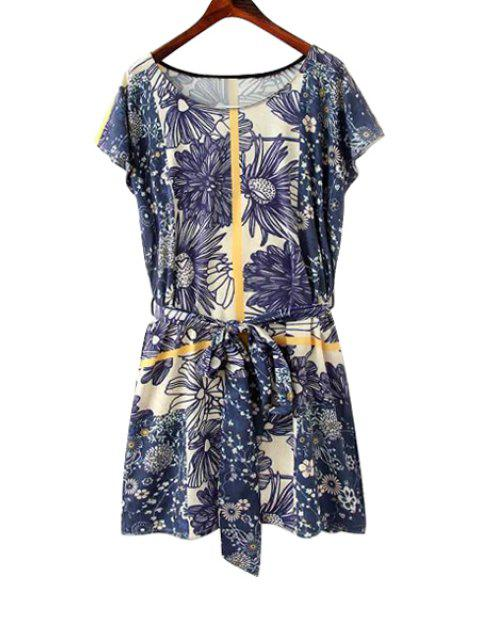 fashion Floral Print Tie-Up Short Sleeve Dress - BLUE S Mobile