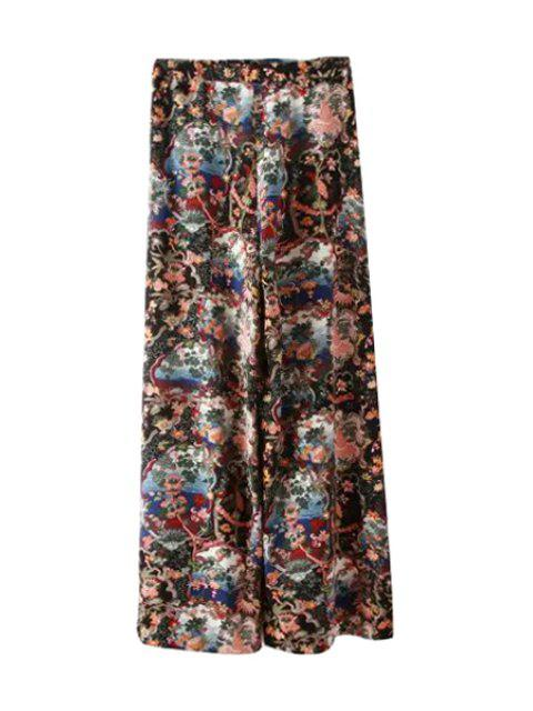 women Floral Print Loose-Fitting Pants - COLORMIX M Mobile