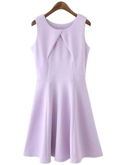 outfits Solid Color Cross Ruffle Sleeveless Dress - PURPLE L Mobile