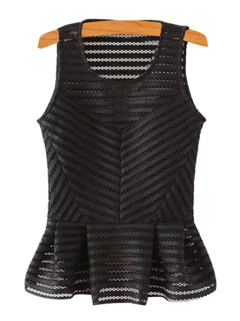 fancy Stripe Openwork Solid Color Tank Top - BLACK L Mobile